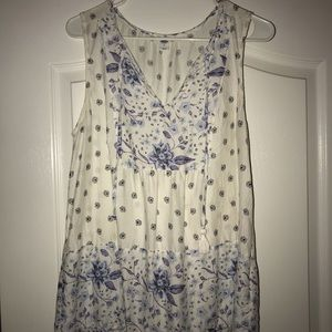 White with blue flowers tank top blouse